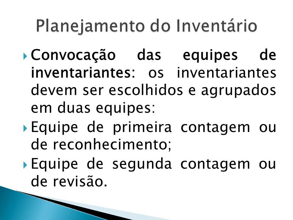  Convocação das equipes de inventariantes: os inventariantes devem ser escolhidos e agrupados em duas equipes:  Equipe de primeira contagem ou de re