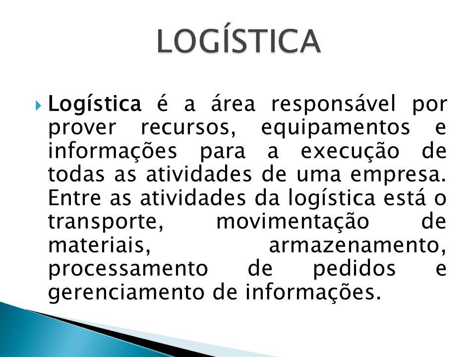  Logística é a área responsável por prover recursos, equipamentos e informações para a execução de todas as atividades de uma empresa. Entre as ativi