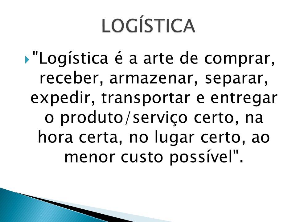  Logística é a arte de comprar, receber, armazenar, separar, expedir, transportar e entregar o produto/serviço certo, na hora certa, no lugar certo, ao menor custo possível .