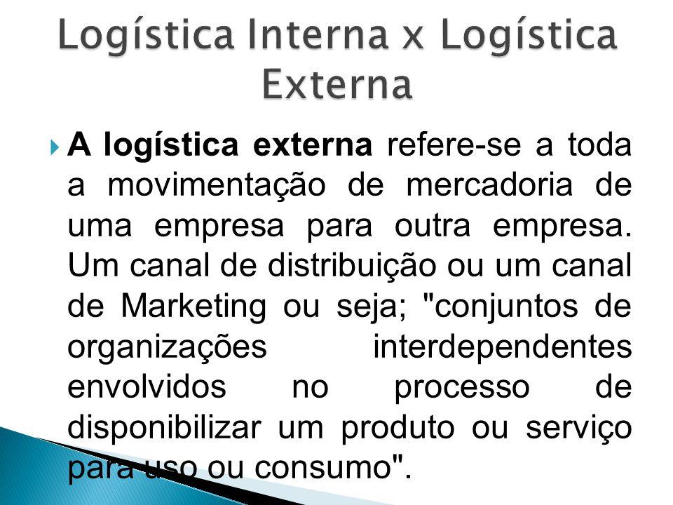  A logística externa refere-se a toda a movimentação de mercadoria de uma empresa para outra empresa. Um canal de distribuição ou um canal de Marketi