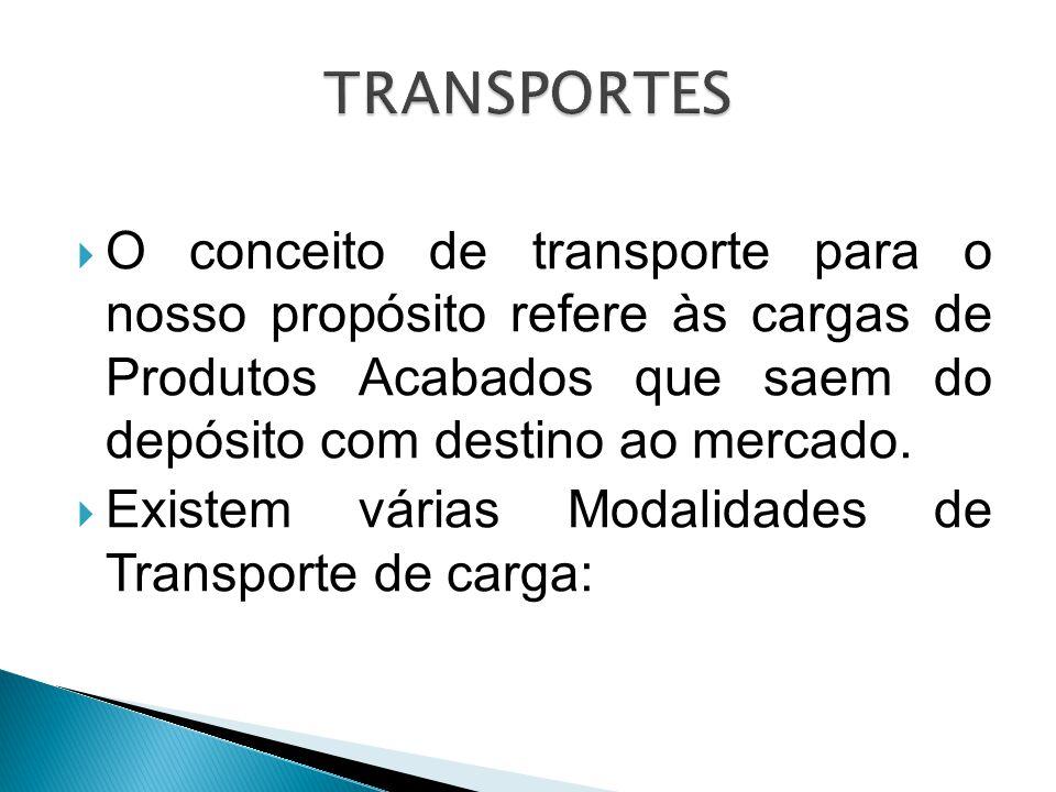  O conceito de transporte para o nosso propósito refere às cargas de Produtos Acabados que saem do depósito com destino ao mercado.  Existem várias