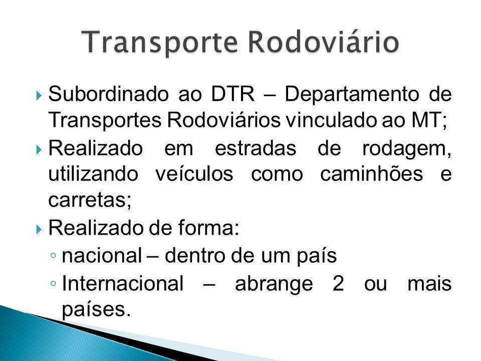  Subordinado ao DTR – Departamento de Transportes Rodoviários vinculado ao MT;  Realizado em estradas de rodagem, utilizando veículos como caminhões