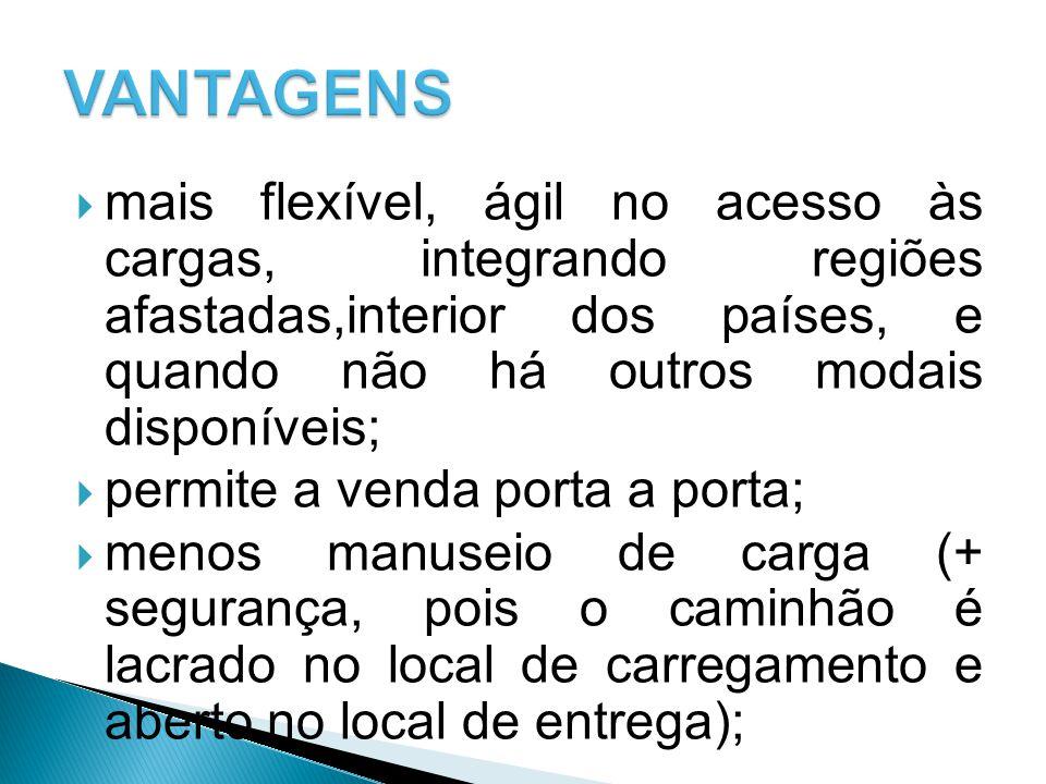  mais flexível, ágil no acesso às cargas, integrando regiões afastadas,interior dos países, e quando não há outros modais disponíveis;  permite a ve