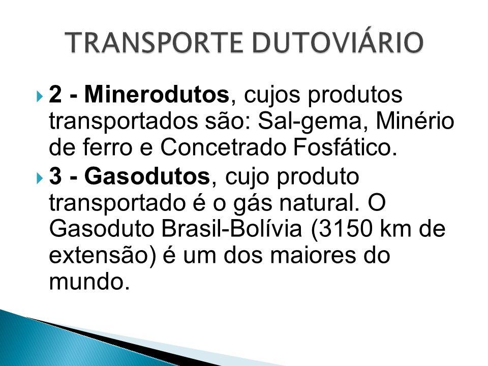  2 - Minerodutos, cujos produtos transportados são: Sal-gema, Minério de ferro e Concetrado Fosfático.  3 - Gasodutos, cujo produto transportado é o
