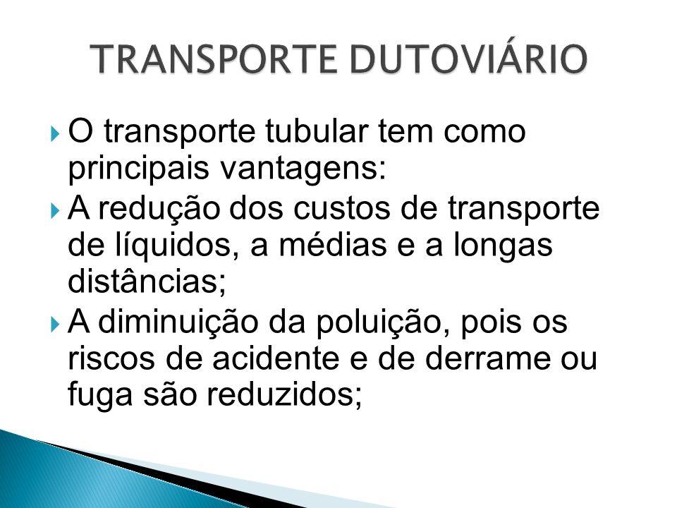  O transporte tubular tem como principais vantagens:  A redução dos custos de transporte de líquidos, a médias e a longas distâncias;  A diminuição