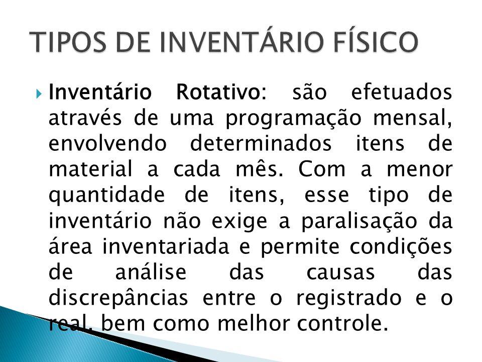  Inventário Rotativo: são efetuados através de uma programação mensal, envolvendo determinados itens de material a cada mês. Com a menor quantidade d