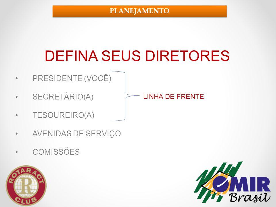 DEFINA SEUS DIRETORES •PRESIDENTE (VOCÊ) •SECRETÁRIO(A) •TESOUREIRO(A) •AVENIDAS DE SERVIÇO •COMISSÕES PLANEJAMENTO LINHA DE FRENTE