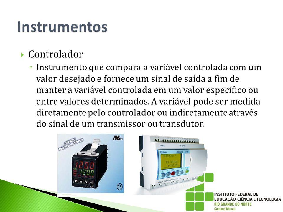  Controlador ◦ Instrumento que compara a variável controlada com um valor desejado e fornece um sinal de saída a fim de manter a variável controlada
