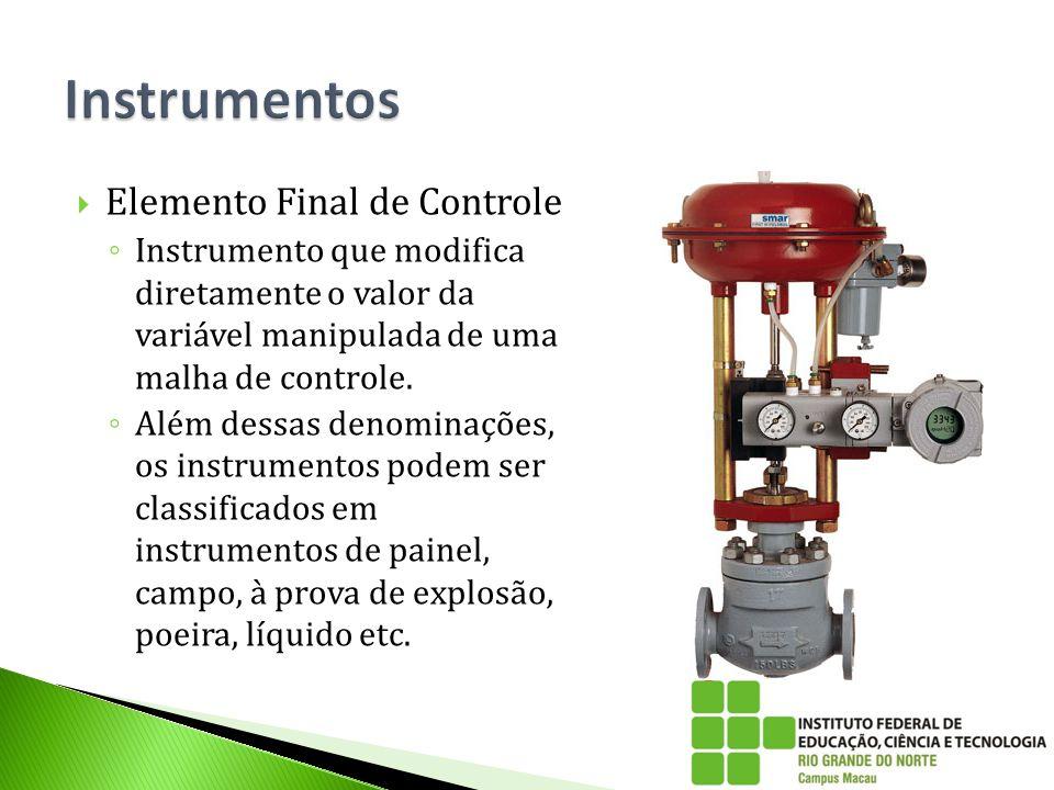 Elemento Final de Controle ◦ Instrumento que modifica diretamente o valor da variável manipulada de uma malha de controle. ◦ Além dessas denominaçõe