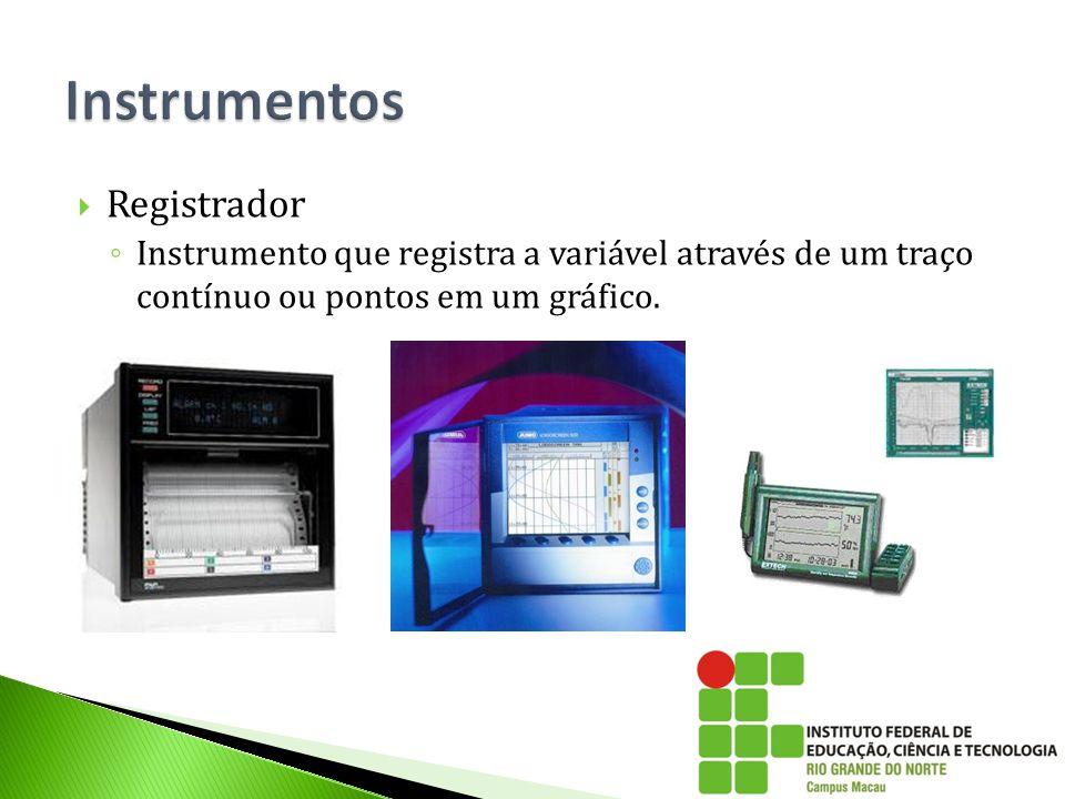  Transmissor ◦ Instrumento que determina o valor de uma variável no processo através de um elemento primário, tendo o mesmo sinal de saída (pneumático ou eletrônico), cujo valor varia apenas em função da variável do processo.