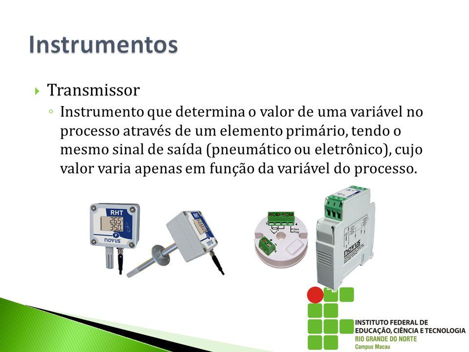  Transmissor ◦ Instrumento que determina o valor de uma variável no processo através de um elemento primário, tendo o mesmo sinal de saída (pneumátic
