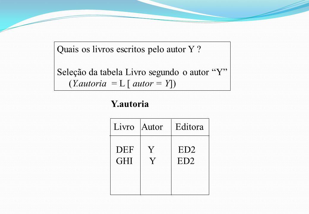 """Quais os livros escritos pelo autor Y ? Seleção da tabela Livro segundo o autor """"Y"""" (Y.autoria = L [ autor = Y]) Y.autoria Livro Autor Editora DEF Y E"""