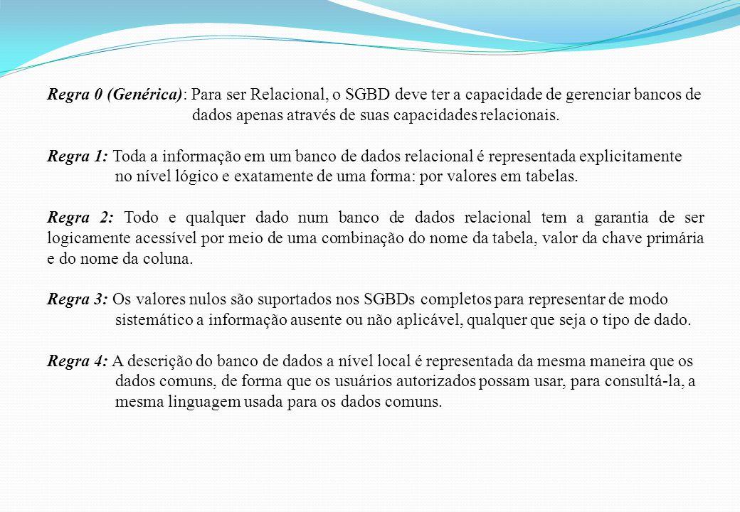 Regra 0 (Genérica): Para ser Relacional, o SGBD deve ter a capacidade de gerenciar bancos de dados apenas através de suas capacidades relacionais. Reg