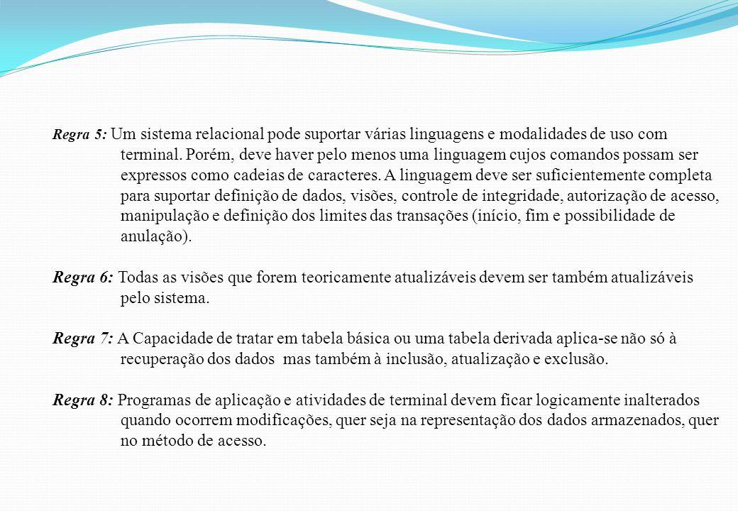 Regra 5: Um sistema relacional pode suportar várias linguagens e modalidades de uso com terminal. Porém, deve haver pelo menos uma linguagem cujos com