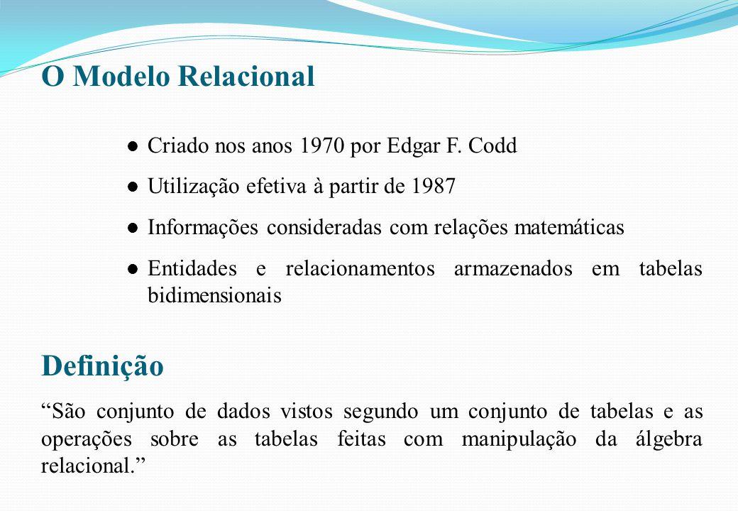 O Modelo Relacional l Criado nos anos 1970 por Edgar F. Codd l Utilização efetiva à partir de 1987 l Informações consideradas com relações matemáticas