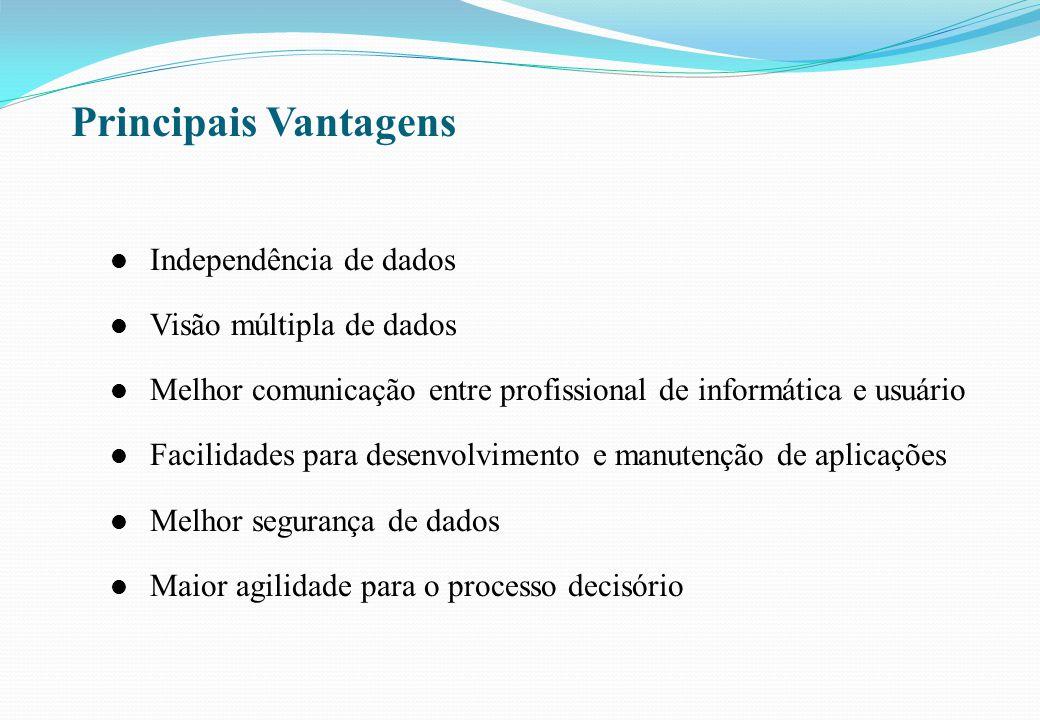 Principais Vantagens l Independência de dados l Visão múltipla de dados l Melhor comunicação entre profissional de informática e usuário l Facilidades