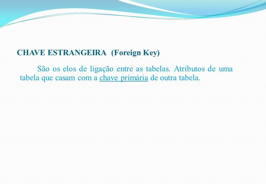 CHAVE ESTRANGEIRA (Foreign Key) São os elos de ligação entre as tabelas. Atributos de uma tabela que casam com a chave primária de outra tabela.