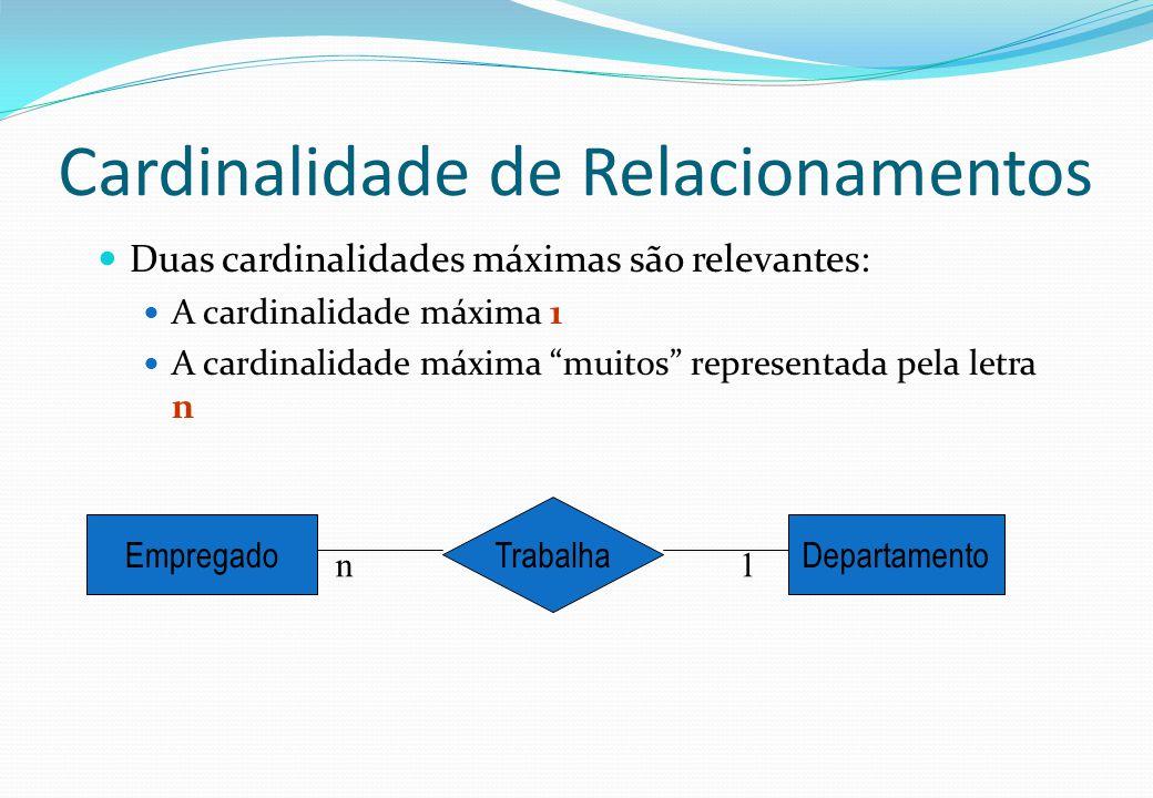 """Cardinalidade de Relacionamentos  Duas cardinalidades máximas são relevantes:  A cardinalidade máxima 1  A cardinalidade máxima """"muitos"""" representa"""