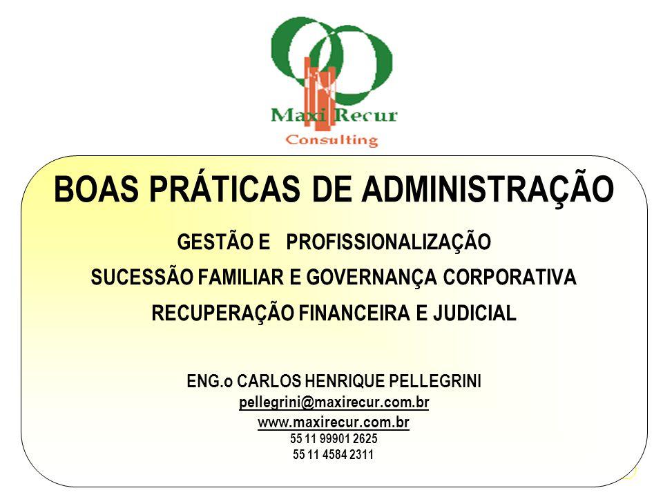BOAS PRÁTICAS DE ADMINISTRAÇÃO GESTÃO E PROFISSIONALIZAÇÃO SUCESSÃO FAMILIAR E GOVERNANÇA CORPORATIVA RECUPERAÇÃO FINANCEIRA E JUDICIAL ENG.o CARLOS H