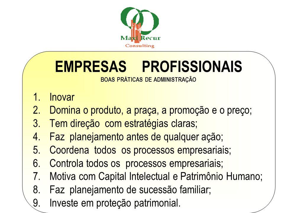 EMPRESAS PROFISSIONAIS BOAS PRÁTICAS DE ADMINISTRAÇÃO 1.Inovar 2.Domina o produto, a praça, a promoção e o preço; 3.Tem direção com estratégias claras