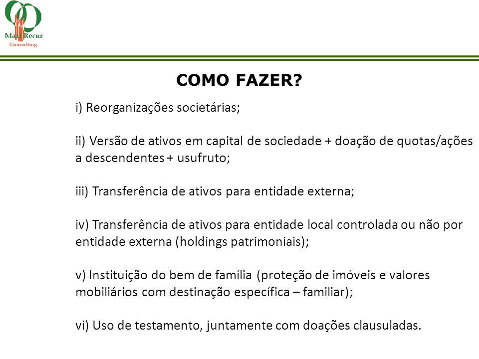 i) Reorganizações societárias; ii) Versão de ativos em capital de sociedade + doação de quotas/ações a descendentes + usufruto; iii) Transferência de
