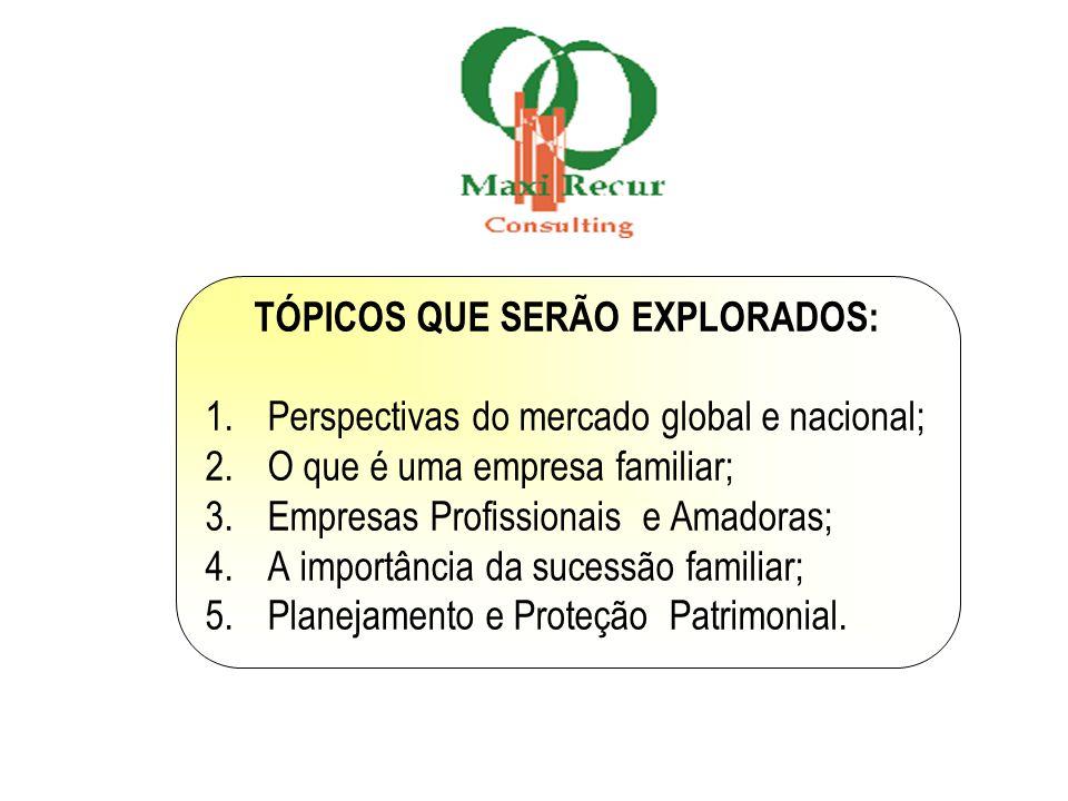 TÓPICOS QUE SERÃO EXPLORADOS: 1.Perspectivas do mercado global e nacional; 2.O que é uma empresa familiar; 3.Empresas Profissionais e Amadoras; 4.A im