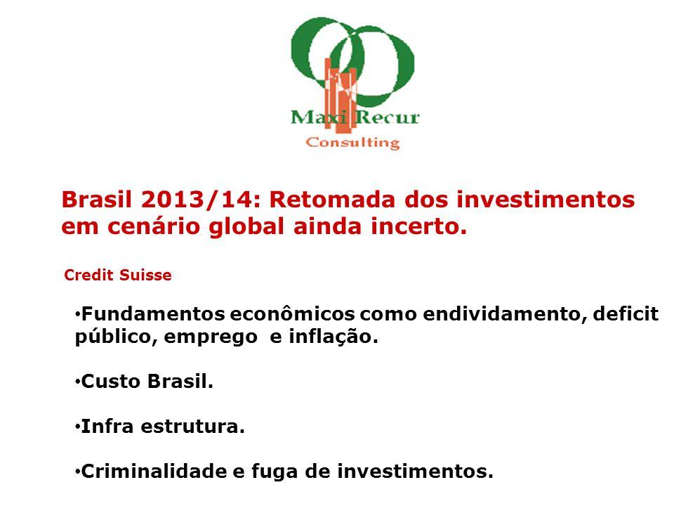 Brasil 2013/14: Retomada dos investimentos em cenário global ainda incerto. Credit Suisse • Fundamentos econômicos como endividamento, deficit público