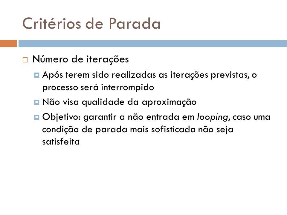 Critérios de Parada  Número de iterações  Após terem sido realizadas as iterações previstas, o processo será interrompido  Não visa qualidade da ap