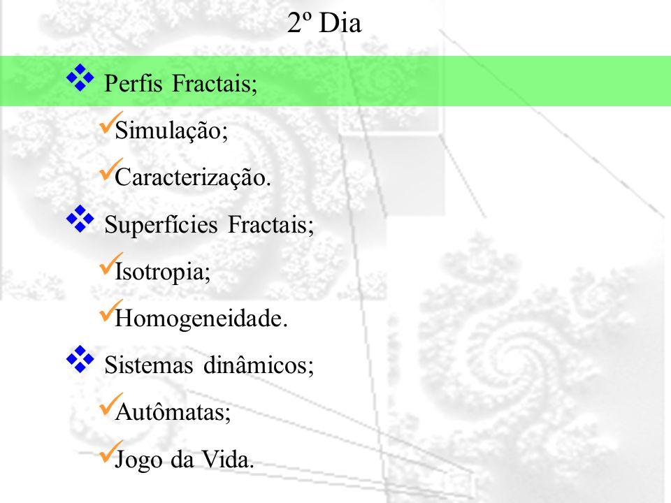 Perfis fractais SIMULAÇÃO FBM Movimento Browniano Fracionário (Fractional Brownian Motion)  D = 2-H  Conceito de persistência.