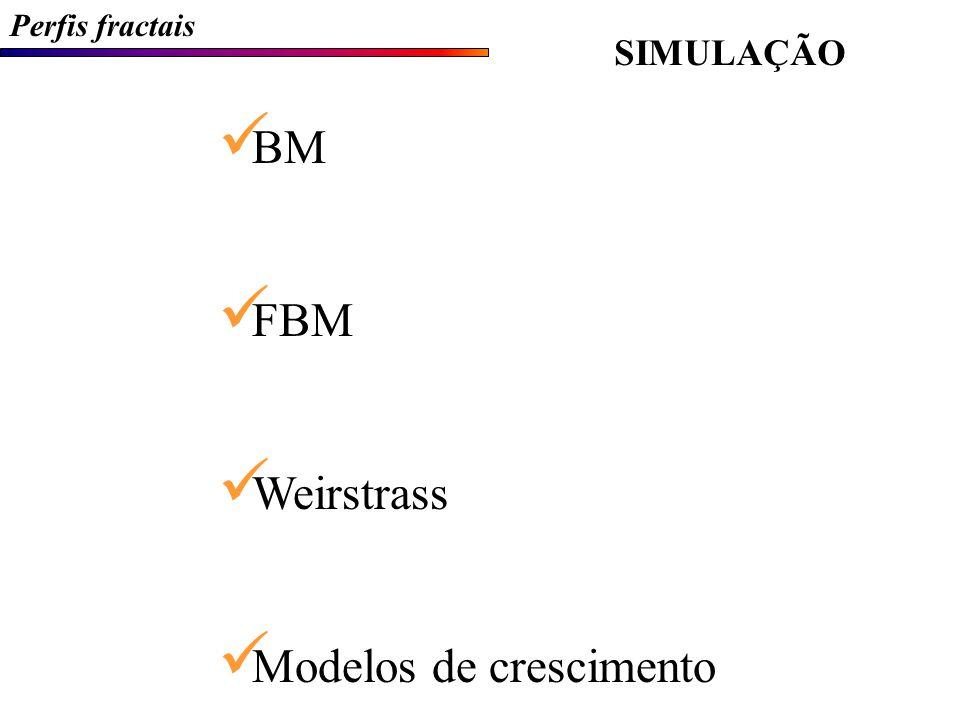Perfis fractais SIMULAÇÃO BM - Movimento Browniano (Brownian Motion)  Origem do pólen  Exemplo do bêbado