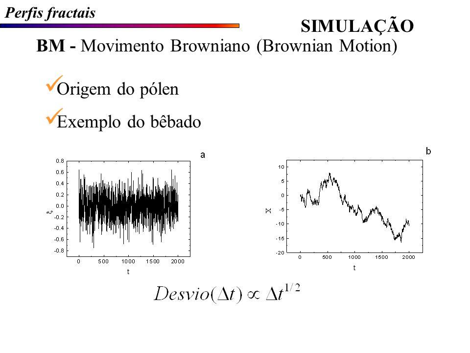 /* melhor resultados com um SH=0.60 */ #include double b,h,soma,f,arg; double x,i,SH,passo; unsigned long np; int n; double mincx,mincy,maxt; void help(void); void main(int argc, char **argv) { if(argc!=4){ help(); exit(0);} np=(unsigned long) atoi(argv[1]); SH=(double) atof(argv[3]); passo=0.01/(double)(np); b=2.1; h=atof(argv[2]); for (x=SH;x<=(SH+((np+1)*passo));x+=passo){ soma=0.0; for (n=-30;n<=30;n++){ arg=(pow(b,n)*x)*0.01745; f=(1.00-cos(arg))/pow(b,(double)(n)*h); soma=soma+f;} printf( %le %le\n ,x,soma);} } void help() { fprintf(stderr, usage: wei {No.Points} { H } {Shift}\n );} Weirstrass:código Perfis fractais SIMULAÇÃO