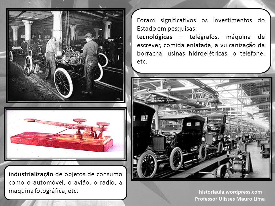 Foram significativos os investimentos do Estado em pesquisas: tecnológicas – telégrafos, máquina de escrever, comida enlatada, a vulcanização da borracha, usinas hidroelétricas, o telefone, etc.