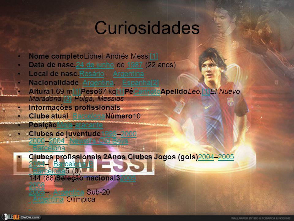 Curiosidades •Nome completoLionel Andrés Messi[1][1] •Data de nasc.24 de junho de 1987 (22 anos)24 de junho1987 •Local de nasc.Rosário, ArgentinaRosár