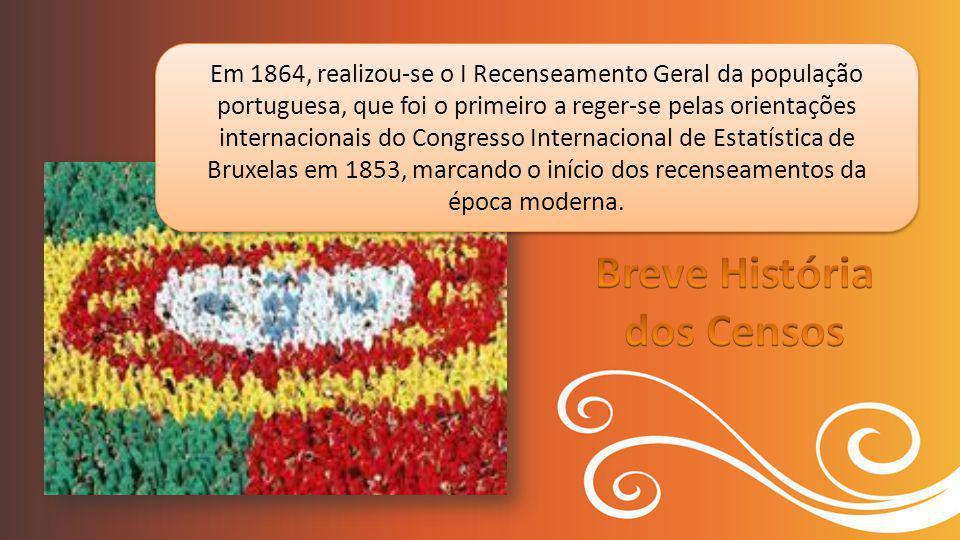 Em 1864, realizou-se o I Recenseamento Geral da população portuguesa, que foi o primeiro a reger-se pelas orientações internacionais do Congresso Internacional de Estatística de Bruxelas em 1853, marcando o início dos recenseamentos da época moderna.