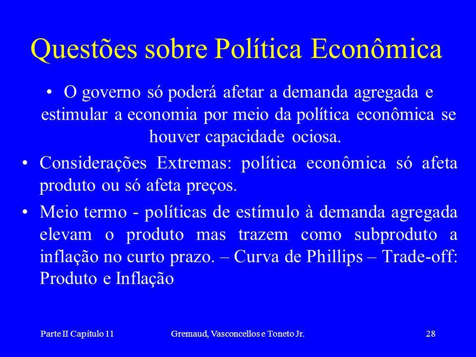 Parte II Capítulo 11Gremaud, Vasconcellos e Toneto Jr.27 •Taxa de câmbio flutuante, livre mobilidade de capital e expectativas estáticas: –Política fi