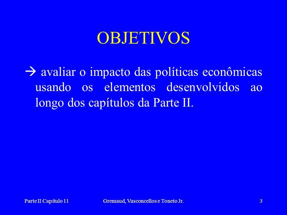 Parte II Capítulo 11Gremaud, Vasconcellos e Toneto Jr.3 OBJETIVOS  avaliar o impacto das políticas econômicas usando os elementos desenvolvidos ao longo dos capítulos da Parte II.