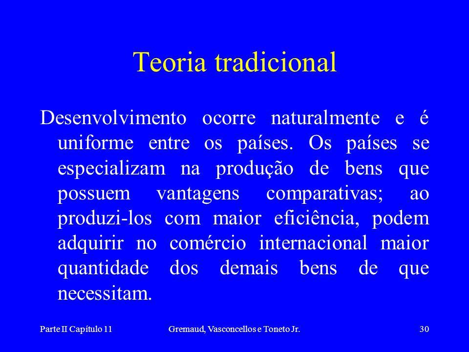 Parte II Capítulo 11Gremaud, Vasconcellos e Toneto Jr.29 Fatores estruturais do desenvolvimento • O crescimento a longo prazo da economia depende do a