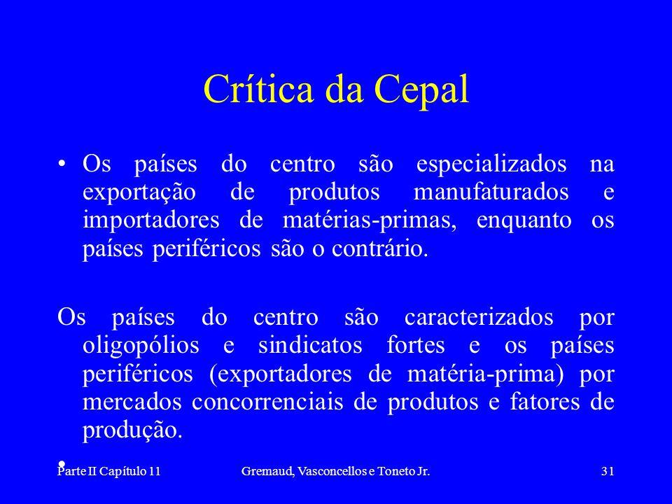 Parte II Capítulo 11Gremaud, Vasconcellos e Toneto Jr.30 Teoria tradicional Desenvolvimento ocorre naturalmente e é uniforme entre os países. Os paíse