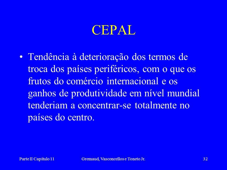 Parte II Capítulo 11Gremaud, Vasconcellos e Toneto Jr.31 Crítica da Cepal • Os países do centro são especializados na exportação de produtos manufatur