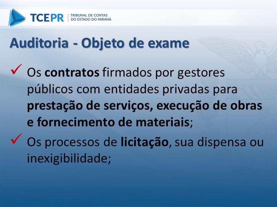  Os contratos firmados por gestores públicos com entidades privadas para prestação de serviços, execução de obras e fornecimento de materiais;  Os p