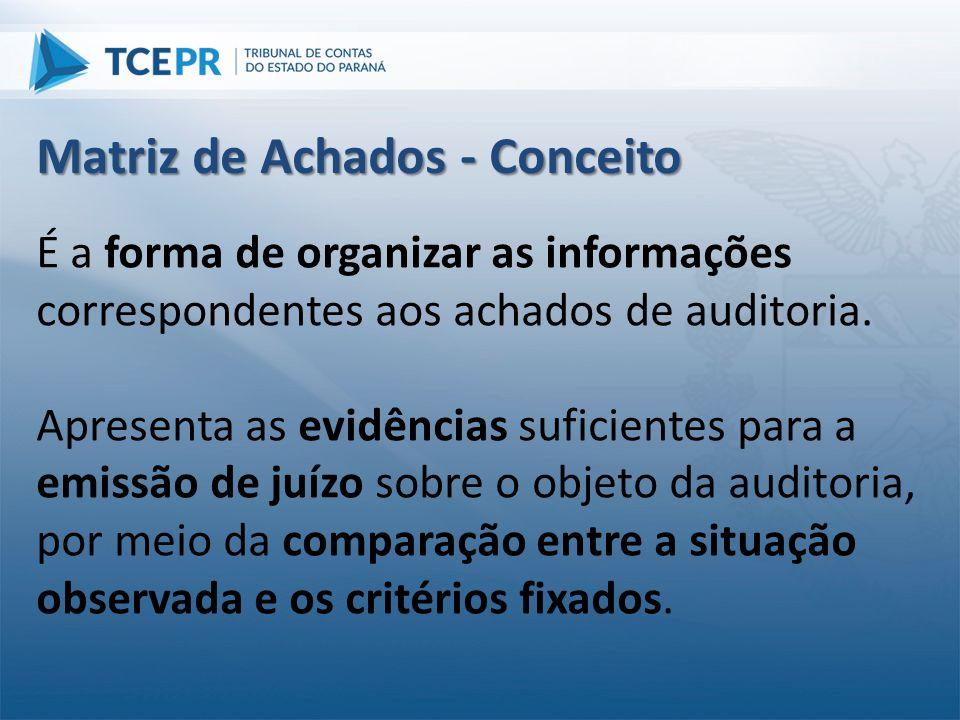 É a forma de organizar as informações correspondentes aos achados de auditoria. Apresenta as evidências suficientes para a emissão de juízo sobre o ob
