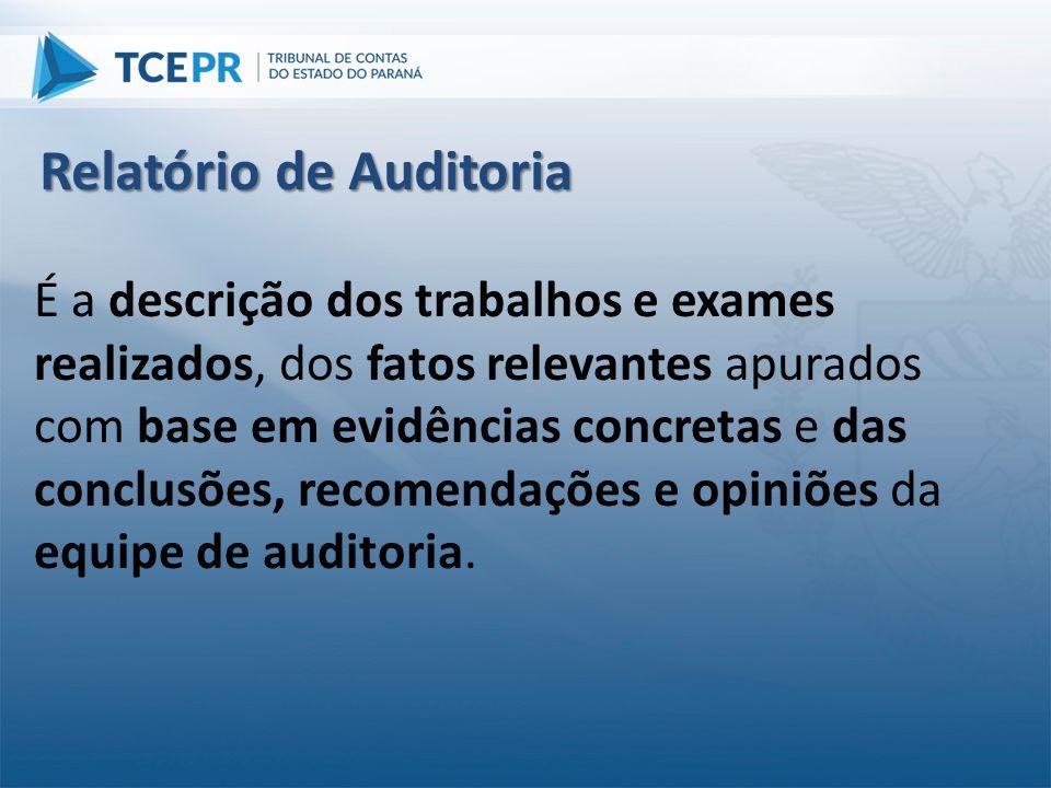 É a descrição dos trabalhos e exames realizados, dos fatos relevantes apurados com base em evidências concretas e das conclusões, recomendações e opin