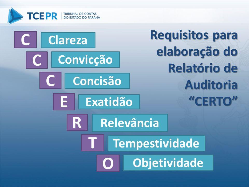 """Requisitos para elaboração do Relatório de Auditoria """"CERTO"""" C C C E T O Clareza Convicção Concisão Exatidão Relevância R Tempestividade Objetividade"""