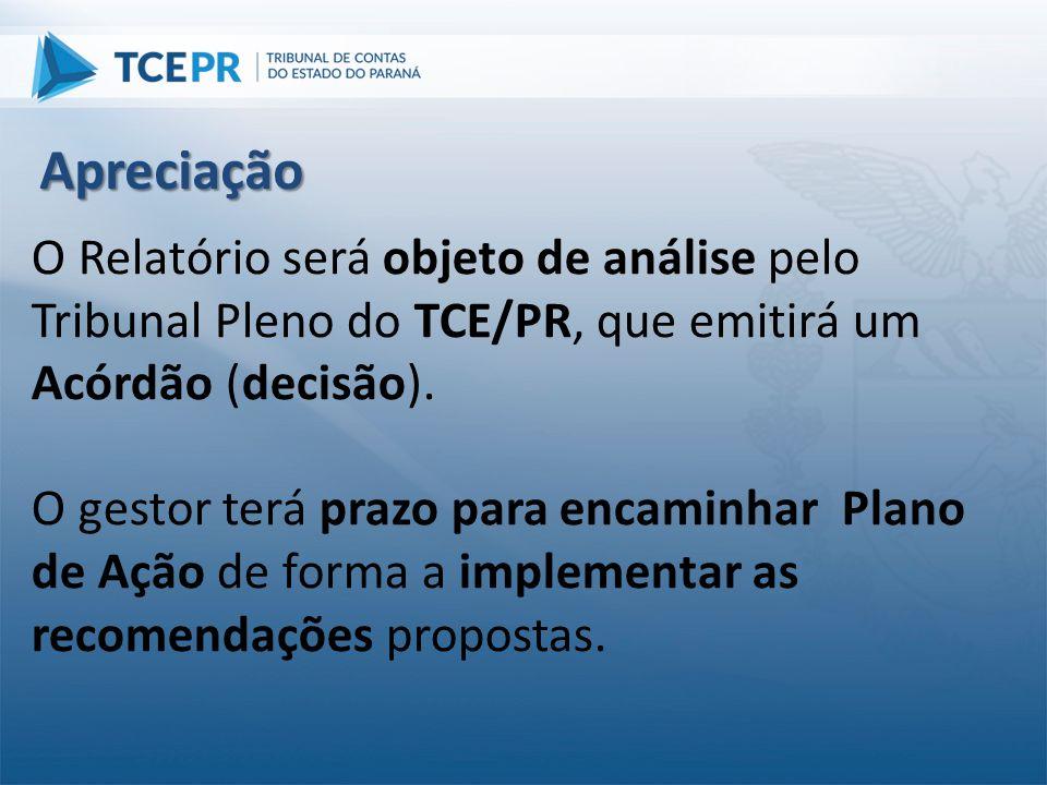 O Relatório será objeto de análise pelo Tribunal Pleno do TCE/PR, que emitirá um Acórdão (decisão). O gestor terá prazo para encaminhar Plano de Ação
