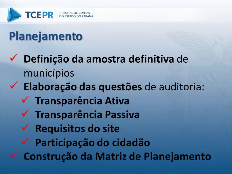  Definição da amostra definitiva de municípios  Elaboração das questões de auditoria:  Transparência Ativa  Transparência Passiva  Requisitos do