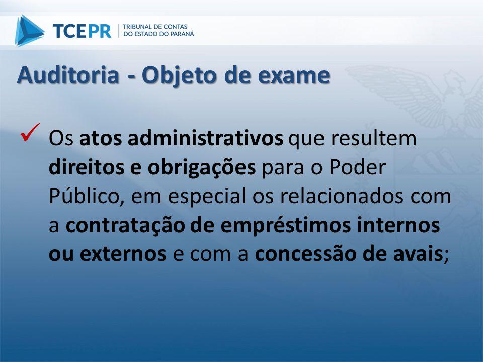  Os atos administrativos que resultem direitos e obrigações para o Poder Público, em especial os relacionados com a contratação de empréstimos intern