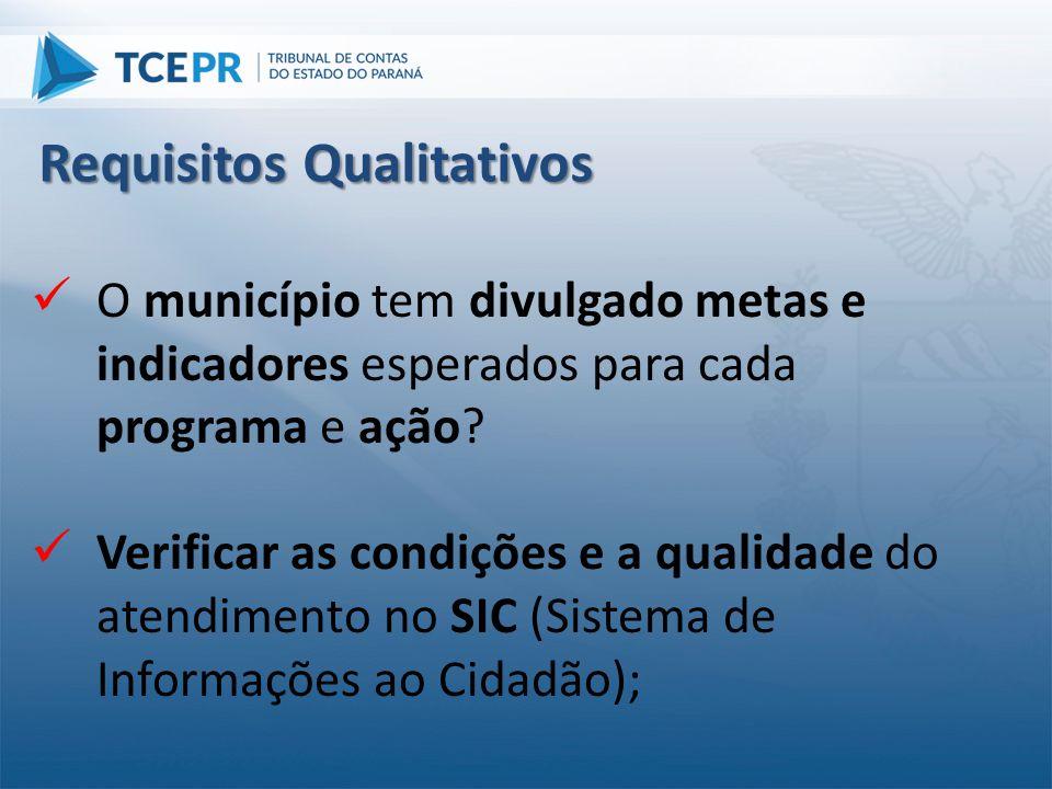  O município tem divulgado metas e indicadores esperados para cada programa e ação?  Verificar as condições e a qualidade do atendimento no SIC (Sis