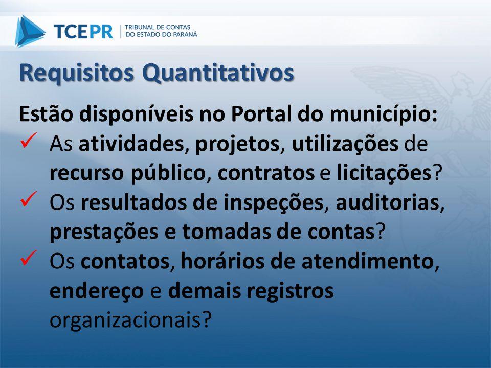 Estão disponíveis no Portal do município:  As atividades, projetos, utilizações de recurso público, contratos e licitações?  Os resultados de inspeç