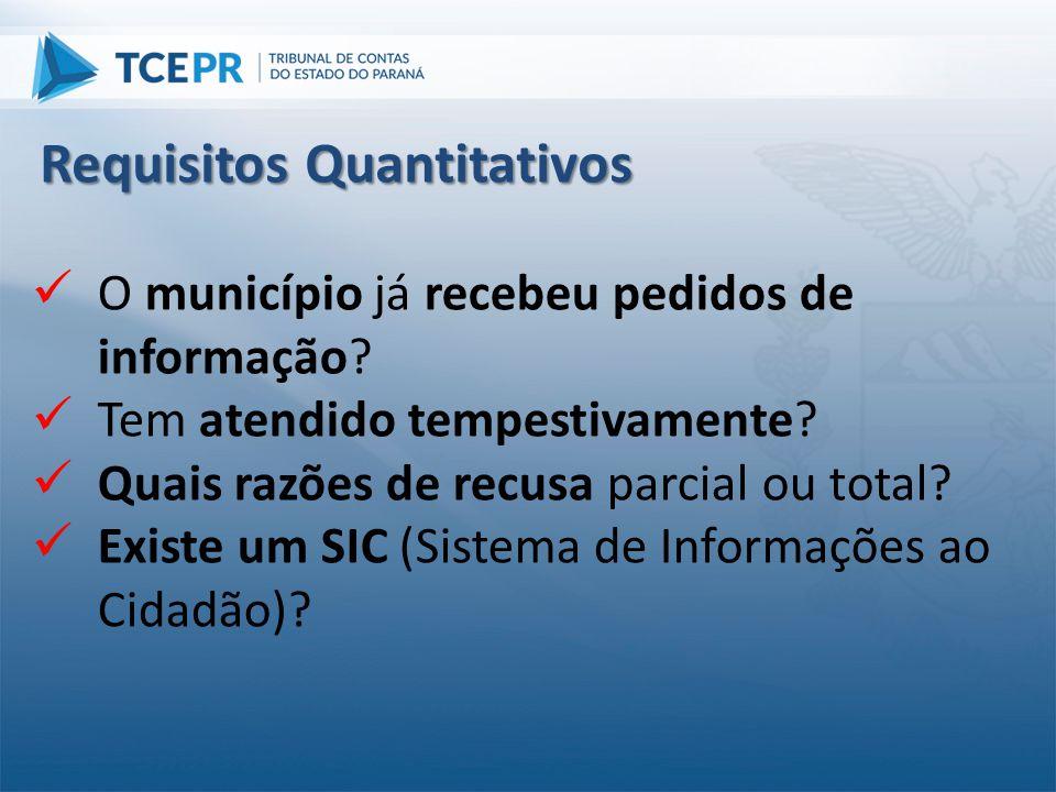  O município já recebeu pedidos de informação?  Tem atendido tempestivamente?  Quais razões de recusa parcial ou total?  Existe um SIC (Sistema de