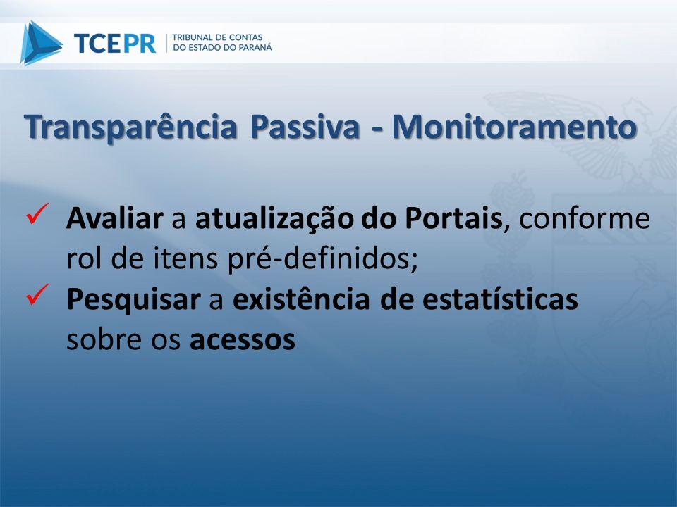  Avaliar a atualização do Portais, conforme rol de itens pré-definidos;  Pesquisar a existência de estatísticas sobre os acessos Transparência Passi